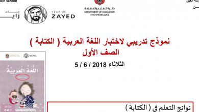 Photo of نموذج تدريبي (الكتابة) لغة عربية للصف الأول