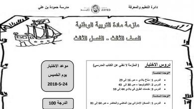 Photo of ملزمة مادة التربية الوطنية للصف الثالث الفصل الثالث