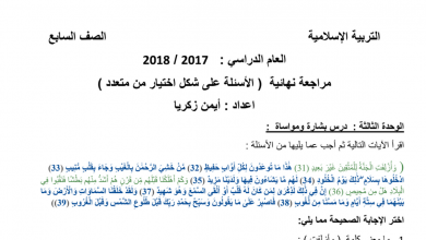 Photo of مراجعة نهائية (اختيار من متعدد) 1 تربية إسلامية للصف السابع مع الإجابات