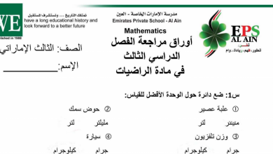 Photo of أوراق عمل مراجعة رياضيات للصف الأول فصل ثالث
