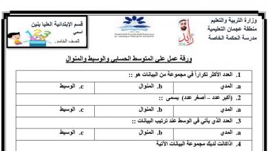 Photo of أوراق عمل المتوسط الحسابي والمنوال والوسيط رباضيات صف خامس فصل ثالث