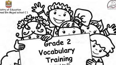 Photo of مفردات الوحدات من 1 – 9 لغة انجليزية صف ثاني فصل ثالث