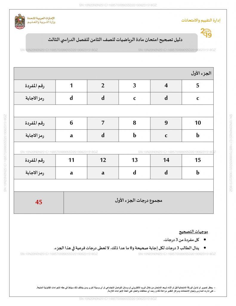 دليل تصحيح الامتحان 2019 رياضيات الصف الثامن فصل ثالث