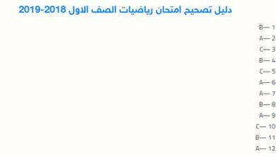 Photo of دليل تصحيح امتحان رياضيات الصف الاول2018-2019