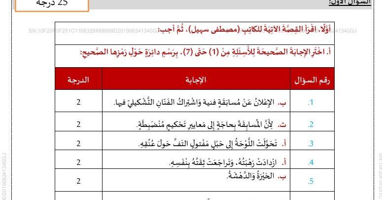 حلول امتحان لغة عربية 2019 الصف العاشر فصل ثالث