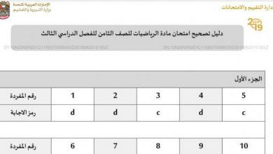 Photo of دليل تصحيح الامتحان 2019 رياضيات الصف الثامن فصل ثالث
