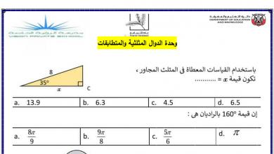 Photo of أوراق عمل الدوال المثلثية والمتطابقات رياضيات صف عاشر متقدم فصل ثالث
