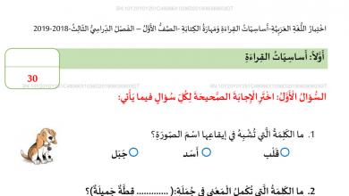 Photo of امتحان كتابة نهاية الفصل الثالث 2019 لغة عربية صف أول فصل ثالث