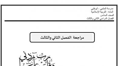 Photo of مراجعة الفصل الثاني والثالث تربية إسلامية صف سادس