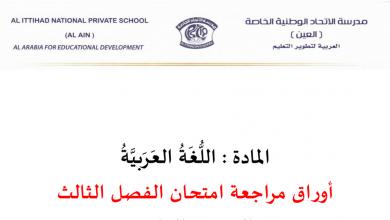 Photo of أوراق مراجعة هامة للفصل الثالث لغة عربية صف عاشر