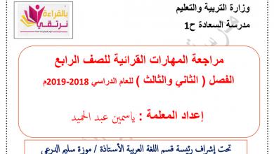 Photo of مراجعة المهارات القرائية لغة عربية فصل ثاني وثالث صف رابع