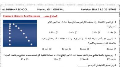 Photo of أوراق عمل مراجعة الفصل الثاني والثالث فيزياء صف حادي عشر عام