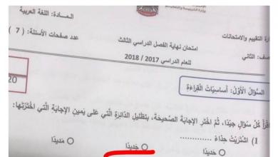 Photo of امتحان نهاية الفصل الثالث 2018 لغة عربية صف ثاني