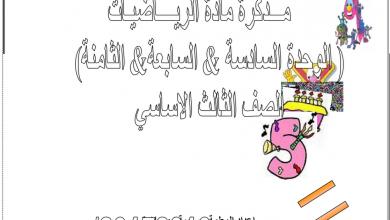 Photo of مذكرة الوحدة 6-7-8 رياضيات صف ثالث فصل ثاني