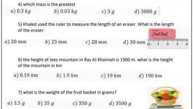 Photo of نماذج امتحان علوم منهج إنجليزي صف خامس فصل ثالث