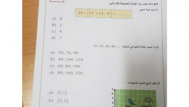 Photo of امتحان رياضيات الصف الخامس الفصل الثالث 2018 – 2019