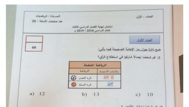 Photo of امتحان رياضيات الصف الأول الفصل الثالث 2018 – 2019