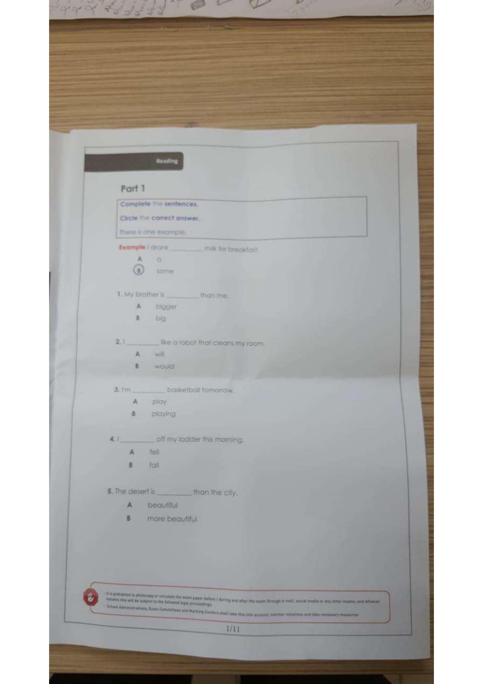 امتحان انجليزي الصف الثالث الفصل الثالث