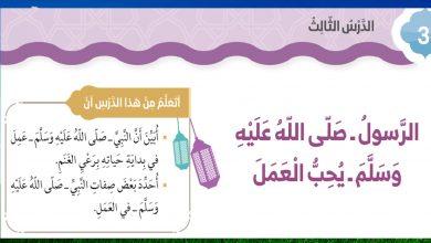 Photo of حل درس الرسول صلى الله عليه وسلم يحب العمل صف ثالث