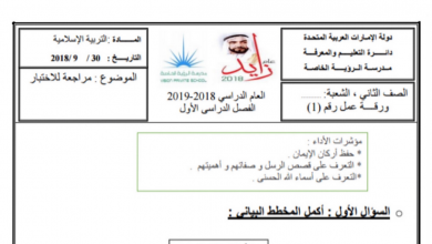 Photo of ورقة عمل أركان الإيمان وآية الكرسي تربية إسلامية صف ثاني فصل أول