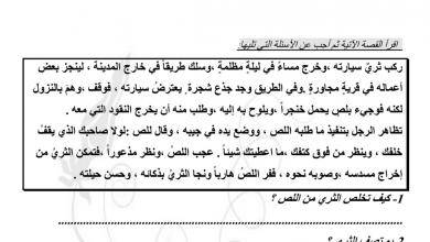 Photo of أوراق عمل فهم المقروء لغة عربية صف خامس فصل أول