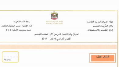 Photo of امتحان نهاية الفصل الأول 2016 – 2017 لغة عربية صف سادس