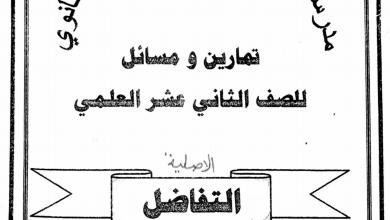 Photo of ملزمة شاملة التفاضل رياضيات صف ثاني عشر متقدم فصل أول