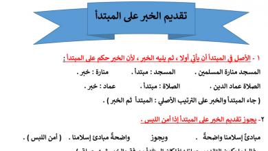 Photo of ملخص قواعد المبتدأ والخبر لغة عربية صف سادس فصل أول