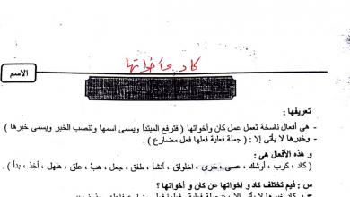 Photo of تلخيص كاد وأخواتها لغة عربية صف ثاني عشر فصل أول