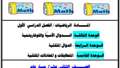 Photo of أوراق عمل الوحدة الثالثة والرابعة والخامسة رياضيات صف ثاني عشر عام فصل أول