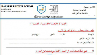 Photo of ورق عمل أنواع الخبر لغة عربية صف خامس فصل أول