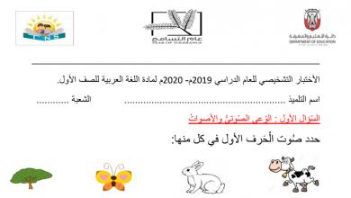 Photo of اختبار تشخيصي لغة عربية صف أول الفصل الاول 2019