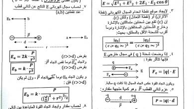 Photo of ملخص قوانين الوحدة الثانية المجال الكهربائي وقانون جاوس فيزياء صف حادي عشر متقدم فصل أول