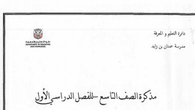 Photo of مذكرة لغة عربية لامتحان نهاية الفصل الأول صف تاسع