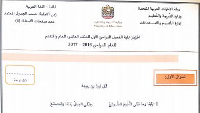 Photo of اختبار نهاية الفصل الأول 2016 – 2017 لغة عربية صف عاشر