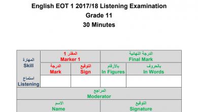 Photo of نموذج امتحان استماع لغة إنجليزية صف حادي عشر فصل أول