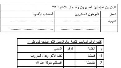 Photo of أوراق عمل تربية إسلامية شاملة يتبعها الحل صف رابع فصل أول
