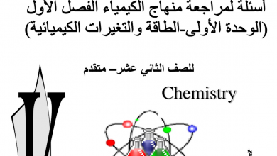 Photo of مراجعة الوحدة الأولى الطاقة والتغيرات الكيميائية كيمياء صف ثاني عشر متقدم فصل أول