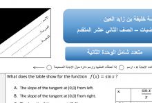 Photo of أوراق عمل اختيار من متعدد رياضيات صف ثاني عشر متقدم فصل أول