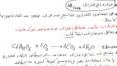 Photo of ملخص المعادلات الكيميائية الحرارية كيمياء صف ثاني عشر فصل أول