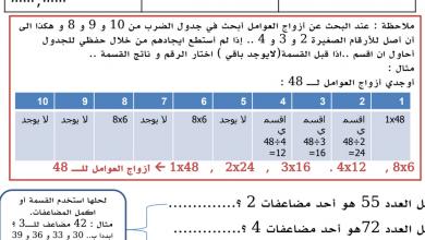 Photo of ورق عمل العوامل والمضاعفات رياضيات صف رابع فصل ثاني