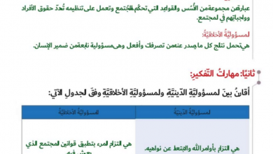 Photo of حل درس المسؤولية دراسات اجتماعية الصف التاسع الفصل الثاني
