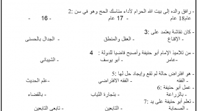 Photo of ورقة عمل درس الإمام أبو حنيفة النعمان تربية إسلامية الصف السابع الفصل الثاني