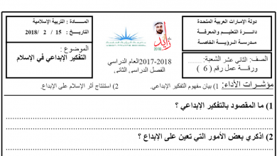 Photo of ورقة عمل درس التفكير الإبداعي في الإسلام تربية إسلامية الصف الثاني عشر الفصل الثاني
