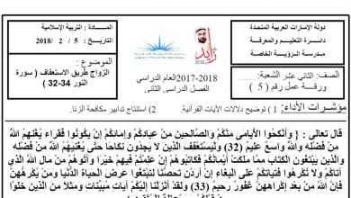Photo of ورقة عمل الزواج طريق الاستعفاف تربية إسلامية الصف الثاني عشر الفصل الثاني
