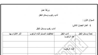 Photo of ورقة عمل درس آداب ركوب وسائل النقل تربية إسلامية الصف الخامس فصل ثاني