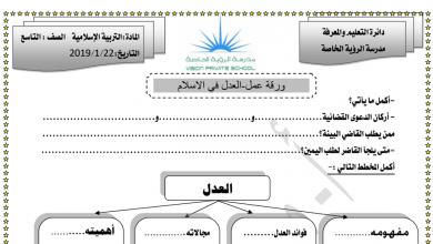 Photo of ورقة عمل درس العدل في الاسلام تربية إسلامية الصف التاسع الفصل الثاني