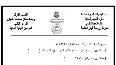 Photo of أوراق عمل المواطن البيئية المائية علوم صف أول فصل ثاني