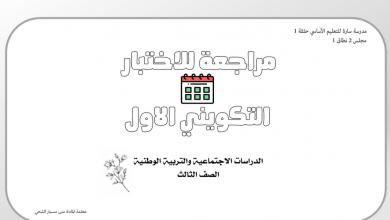 Photo of مراجعة للاختبار التكويني الأول دراسات اجتماعية صف ثالث فصل ثاني