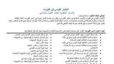 Photo of مواصفات الاختبار القياسي للقبول الجامعي فيزياء صف ثاني عشر متقدم